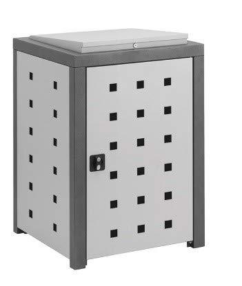Döring Hochwertige Mülltonnenbox Vario für 1 Tonne 80-120L Pflanzdach Quadratdesign DB-703/RAL3004 Purpurrotsilber/Muellbox-24