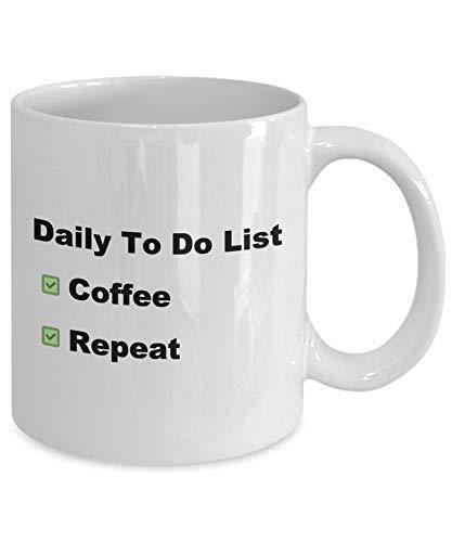 Eastlif Taza de Adicto al café Lista Diaria de tareas Pendientes Coffee Repeat Coffee Lover
