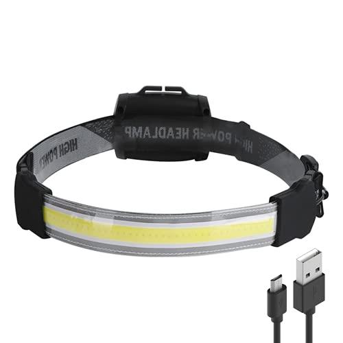Linterna Frontal COB USB Recargable, Brillante 3 Modos Linternas Linterna de Cabeza Resistente al Agua para acampar al aire libre, COB Impermeable para Running, Acampar, Pesca, Ciclismo, Excursión