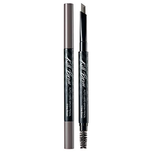 CLIO Kill Brow Auto Hard Eyebrow Pencil | Dual-End, Brow Filler, Long Lasting, Waterproof, Smudge-Resistant, Spoolie Brush, Sharpener, Fills and Thickens Brows | Gray Brown (#05)