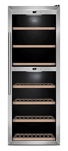 CASO WineComfort 1260 Smart | Weinkühlschrank für 126 Flaschen | App steuerbar, 2 Zonen für 5-20°C, LED beleuchtet, UV-Filter Glas, Edelstahl