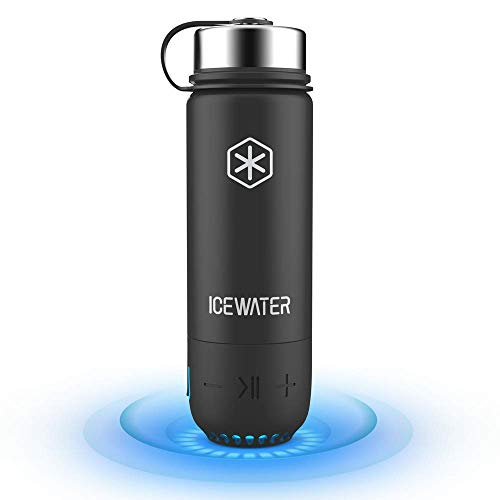 ICEWATER 3-in-1 Smart Stainless Steel Water Bottle(Glows to Remind You to Stay Hydrated)+Bluetooth Speaker+ Dancing Lights,20 oz,Stay Hydrated,Enjoy Music (black)