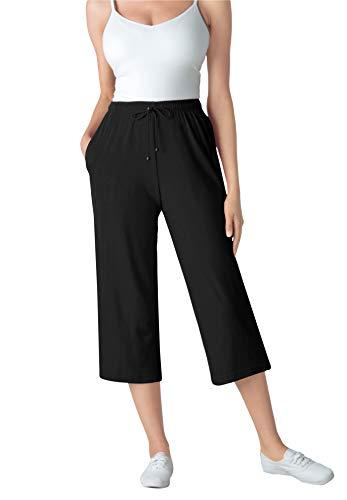 Woman Within Women's Plus Size Sport Knit Capri Pant - 4X, Black