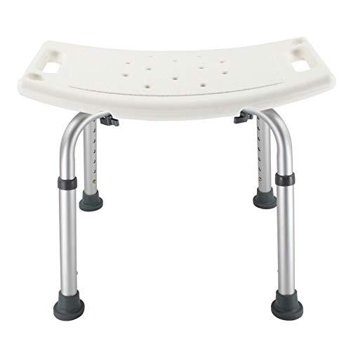 SAPOIGUANA Duschhocker Duschhilfe bis 136 kg Badhocker Badestuhl Duschstuhl Duschsitz Höhenverstellbar (Rechteckig) aus Alu und Kunststoff Duschhocker,Badesitz Badehilfe für Schwangere und Alte