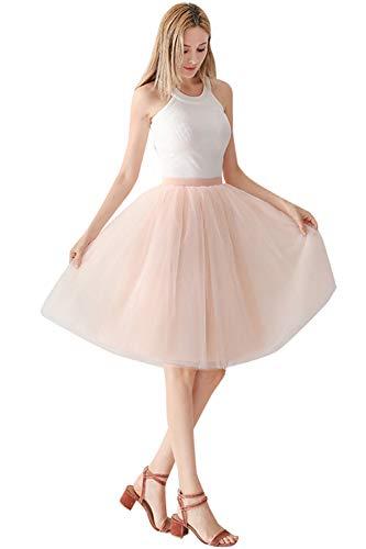 Babyonlinedress Damenrock Tüllrock Elasthan Band Tutu 50er Karneval Tanzkleid Unterkleid Crinoline Petticoat für Rockabilly Kleid, Pfirsich, One Size / Einheitsgröße
