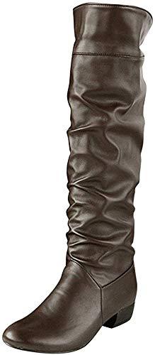MRULIC Damen Winter Kniehohe Stiefel Flache Absätze Reitstiefel Outdoor PU Leder Stiefel Warme Winddicht und wasserdicht(Braun,39 EU)
