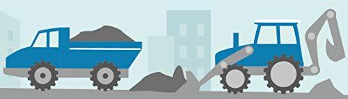 lovely label Bordüre Bagger und Baustelle Wandbordüre Kinderzimmer Blau Wandbordüre Kinderzimmer/BabyzimmerBaustelle - Wandtattoo Schlafzimmer Mädchen und Junge – Wanddeko Baby/Kinder