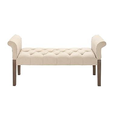 Deco 79 55764 Wood Fabric Bench, 53  x 26 , Beige
