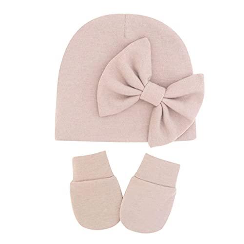 Manyao 2 gorros de bebé + manoplas para bebé antiarañazos, guantes de algodón, guantes de protección para bebés, Taro ligero perfumado,