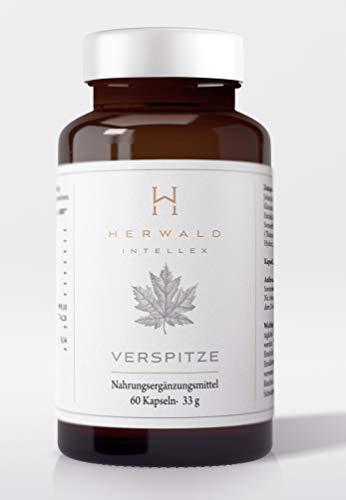 VERSPITZE – Brain Booster mit Heilpflanzen und Vitamin B Komplex – 60 Kapseln – Vegan Ginkgo Braineffect Johanniskraut Focus Huperzia Kleines Fettblatt