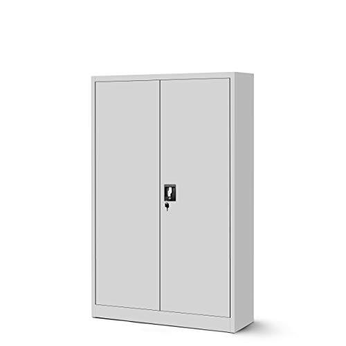 Jan Nowak Aktenschrank C001 Metallschrank Büroschrank Werkzeugschrank 3 Fachböden Stahlblech Flügeltüren Pulverbeschichtung 140 cm x 90 cm x 40 cm (grau/grau, 1)