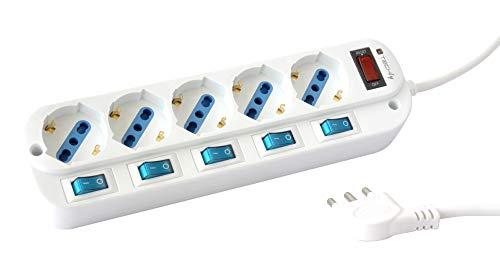 Techly 103045 Multipresa 5 Posti Bipasso con Interruttori indipendenti e Protezione da sovraccarico Bianco