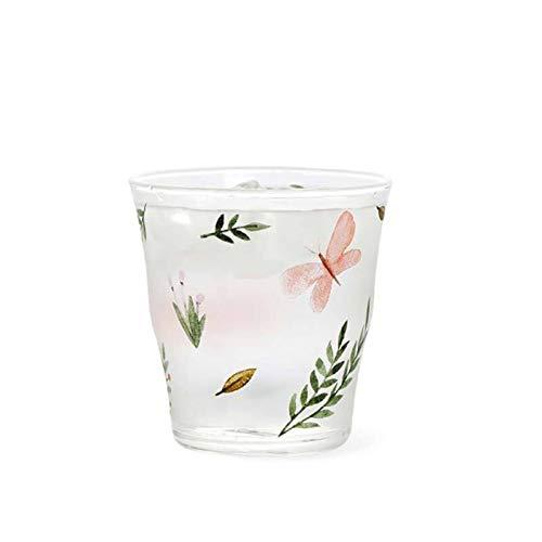 Tazas de vidrio 2 piezas Flores transparentes Taza de cristal impreso Taza de café Resistente al calor Leche Jugo Té Taza Taza Oficina Hogar Oficina Vidrios ( Color : Pink butterfly , Size : 339ml )