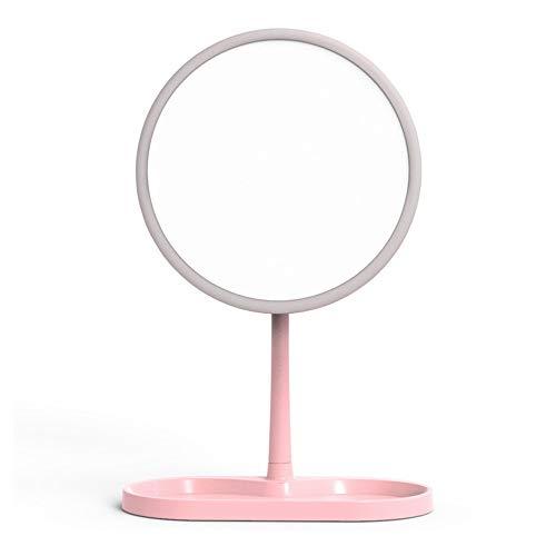 LiChaoWen Make-upspiegel 360 ° draaiing van de draagbare verlichtingsspiegel versterker daglicht verlichting badkamer LED compacte reis badkamerspiegel reizen make-up spiegel
