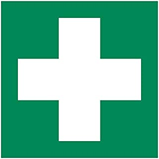 First aid Sticker, Vinyl 6 x 6 inches Rescue Sign, ISO 7010 [E003], Pack of 1
