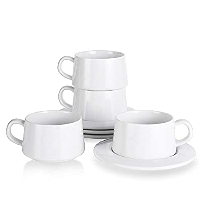Kanwone Porcelain Stackable Cappuccino Cups with Saucers - 8 Ounce for Specialty Coffee Drinks, Cappuccino, Latte, Americano and Tea - Set of 4, White