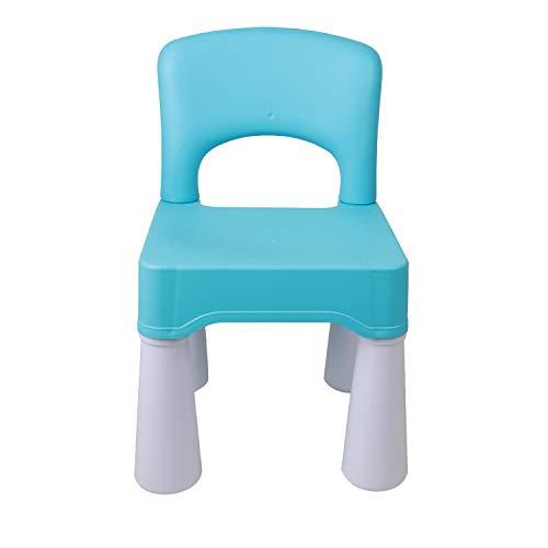 burgkidz Silla de plástico para niños, Duradera y Liviana, Asiento de 9.3'de Altura, Uso en Interiores o Exteriores, Azul Claro