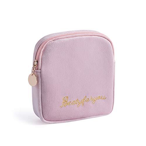 Pingdi - Bolsa de almacenamiento de pañales de franela suave para cosméticos, monedero, organizador de joyas, tarjeta de crédito, PK. (Rosa) - 3TT903196-PK_LMYUK0202