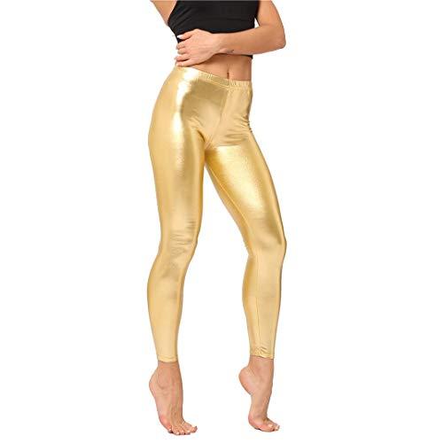 sdawa Leggings Cintura Alta para Mujer,Mujeres PU Leggins Cuero Brillante Negro Pantalón Cintura Alta Skinny Elásticos Pantalones