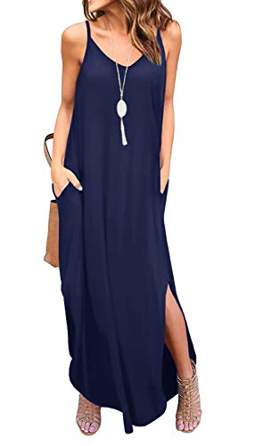 GRECERELLE Women's Summer Casual Loose Dress Beach Cover Up Long Cami Maxi Dresses with Pocket Navy Blue-XL