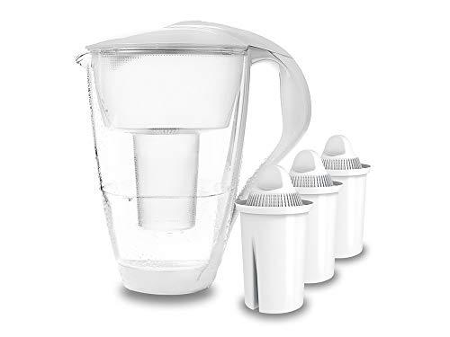 PearlCo - Glas-Wasserfilter (weiß) mit 3 classic Filterkartuschen - passt zu Brita Classic