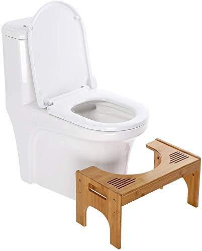 Ejoyous Badezimmer WC- & Toilettenhocker, Toilettenhocker Toiletten-Hocker und Töpfchentraining Unterstützung (verstellbar), natürliches Bambusholz mit Rutschfester Oberfläche, Fußstütze