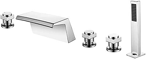 WYRKYP Tapas de Baño con Ducha de Pantalla de 1.5M, Cascada Bañera Mezclador Mezclador Tap de Mezaje de 3 Hablos de Tinto de 5 Agujero F de Brass de Brass de Brass de Loculón Chrome Cubierta Cubierta