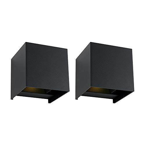 LED Wall Lamp 2 Pcs 12W 800LM 3000K, DAWALIGHT Up and Down Modern Wall Lights, Outdoor Indoor Garden Wall Sconces, IP65, Square Design, Beam Angle Adjustable (Black)