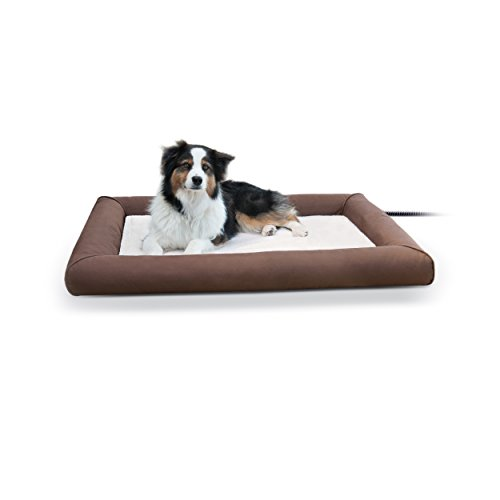 K&H Pet Products Deluxe Lectro-Soft Outdoor Heated Bed Large Chocolate/Tan 34.5' x 44.5' 60W