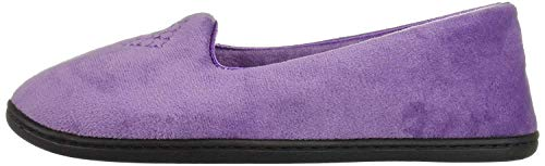 Dearfoams Women's Rebecca Microfiber Velour Closed Back Slipper, Smokey Purple, Large Wide