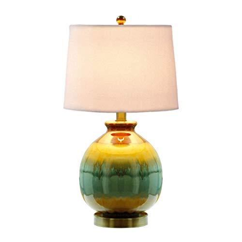 YNHNI Mesita de luz de la lámpara de cerámica y Tela de la Cortina lámpara de Mesa, 22' H, Azul y Amarillo de la Raya,Pequeña (Color : White Shade)
