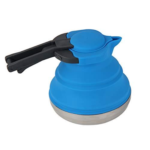 Kitchnexus Faltbarer Silikon Wasserkessel Reisewasserkocher mit Edelstahlboden 1,2 Liter Ideal für Camping oder Motorradreisen, BPA frei
