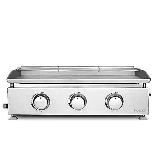 H.Koenig - Plancha de gas PLX830, 3 quemadores, acero inoxidable, placa de 5 mm, distribución igual del calor, temperatura hasta 350 °C, fácil limpieza, apta para lavavajillas, patas antideslizantes