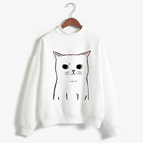 zysymx Camisetas con Estampado de Gato Ropa de Cuello Alto de Dibujos Animados para Mujer Kawaii Blanco Invierno Otoño Suelto Casual T