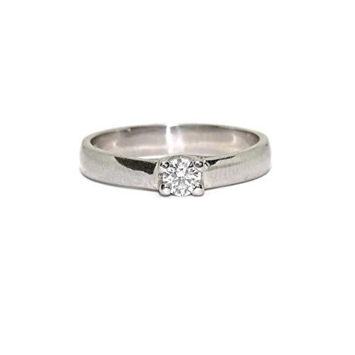 Never Say Never Solitario in oro bianco 18 carati con un diamante da 0,20 ct di splendido colore H e purezza VS per il tuo anello di fidanzamento, anello da sposa.