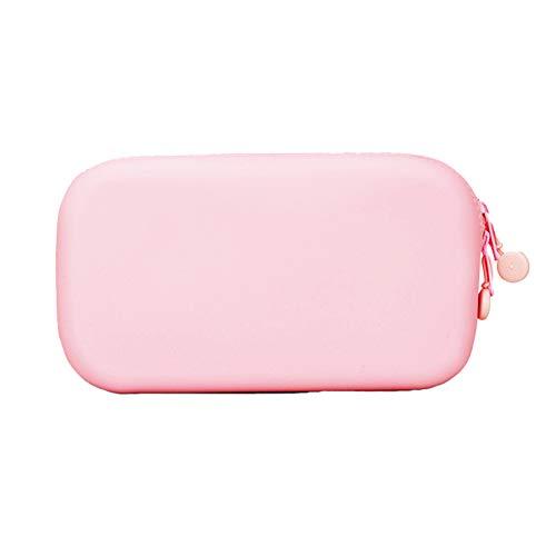 HUAJIA Estuche de silicona de color sólido suave para lápices creativo, de gran capacidad, bolsa de almacenamiento para brochas de maquillaje, color rosa, tamaño grande
