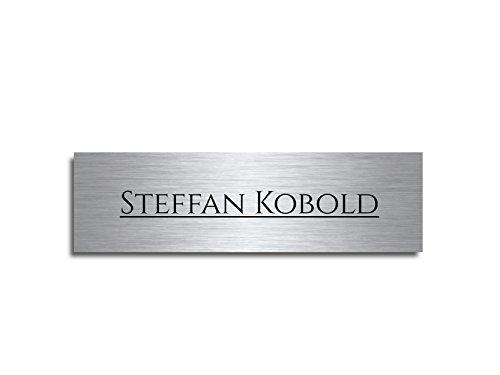 Edelstahl Türschild mit Gravur | Namensschilder Briefkastenschild selbstklebend oder mit Bohrlöcher ab 7x2 cm eckig mehr als 80 Motive Türschilder für die Haustür mit Namen selbst gestalten