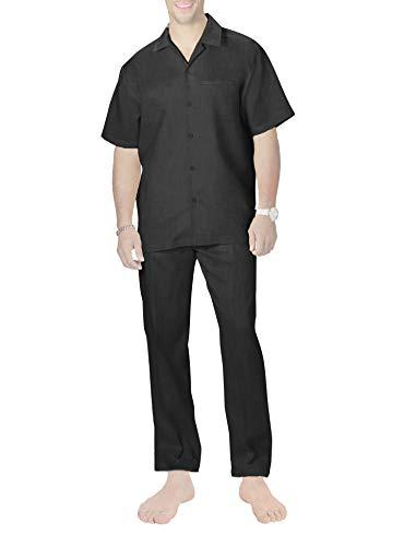 Herren Pyjama Schlafanzug Lang Pyjamas Set Nachtwäsche Set mit Tasche Zweiteiliger mit Pyjamahose und Kurzarm Shirt Hausanzug