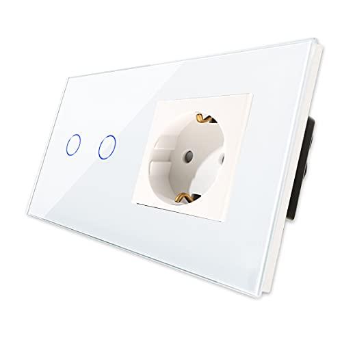 CNBINGO Enchufe Schuko con doble interruptor de luz, con panel táctil de cristal y LED de estado, interruptor de 2 vías, interruptor táctil blanco y enchufe, conductor neutro no se necesita