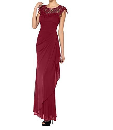 Royaldress Damen Grau Etuikleider Brautmutterkleider Festliche Kleider Abendkleider fur hochzeitsgaste bodenlang Chiffon Rock -52 Burgundy