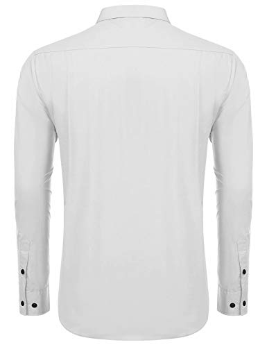 LecGee Men's Industrial Work Shirt Regular Fit Cotton Long Sleeve with 2 Chest Pockets White