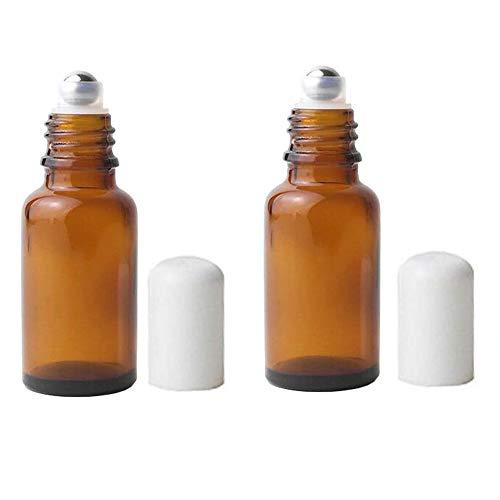 3PCS 20ML 0.7OZ vide Brown verre bouteille Roll-on avec couvercle blanc et en acier inoxydable Roller Ball cosmétique récipient flacon titulaire pour le parfum huile essentielle Aromathérapie