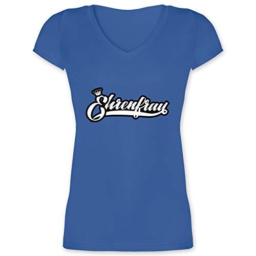 Karneval & Fasching - Ehrenfrau Partner Kostüm - 3XL - Blau - Statement - XO1525 - Damen T-Shirt mit V-Ausschnitt