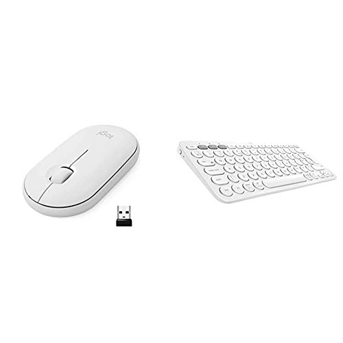 Logitech M350 Pebble Kabellose Maus + K380 kabellose Multi-Device Bluetooth-Tastatur