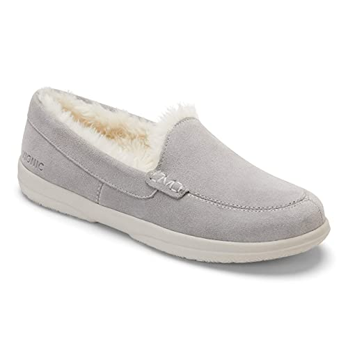 Vionic Women's Cedar Lynez Slip On Slipper- Comfortable Spa House Slippers that include Three-Zone Comfort with Orthotic Insole Arch Support, Soft House Shoes for Ladies Light Grey Suede 8 Medium US