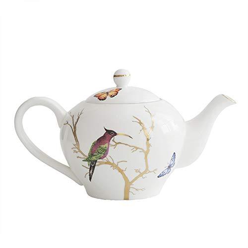 Porcellana Bone China Latte caffè oro tazza di tè piattino Set di caffè Handmade di Coppa Coppe tè vintage ceramica Royal Rose (Color : Teapot)