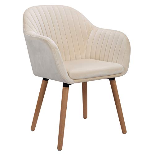 WOLTU Cream White Kitchen Dining Chair 1 Piece Upholstered Counter Lounge Living Room Corner Chair with Arms & Backrest Solid Wood Legs Reception Chair Tub Chairs Armchair
