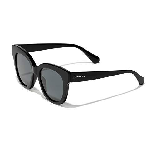HAWKERS Gafas de Sol Audrey Estilo Butterfly, para Mujer, All Black, con Montura y Lente negras, Protección UV400