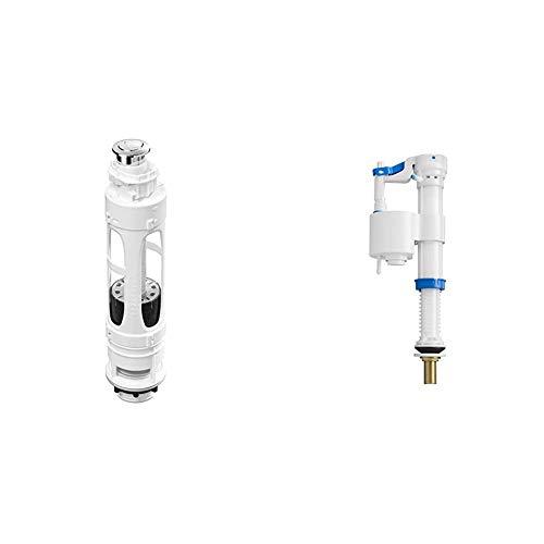 Roca A822502100 Mecanismo de doble descarga con 2 pulsadores, Blanco + Plus A822504400 - Mecanismo de alimentación inferior con rosca metálica, compacto y llenado rápido
