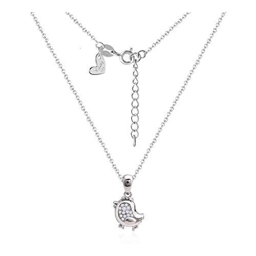 ZUXIANWANG Lady'S Sterling Silver Necklace 925 Colgante Zodiac Pollo Simple Regalo Cadena De Clavícula